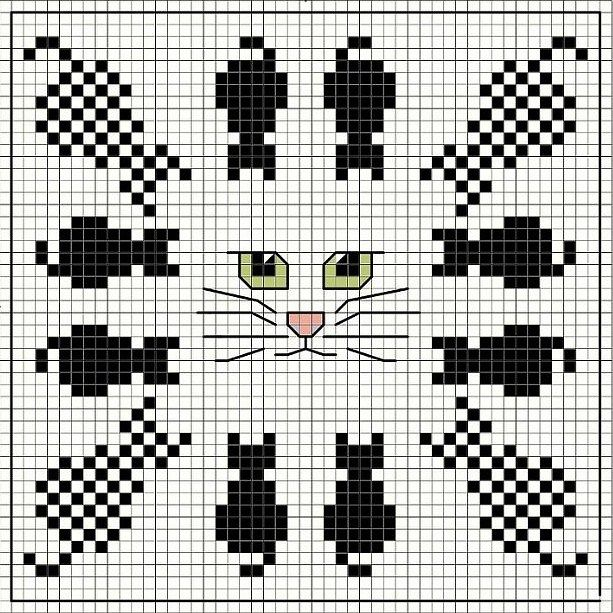 Cross-stitch Kitty biscornu ... no color chart available, just use the pattern chart as your color guide.. or choose your own colors...