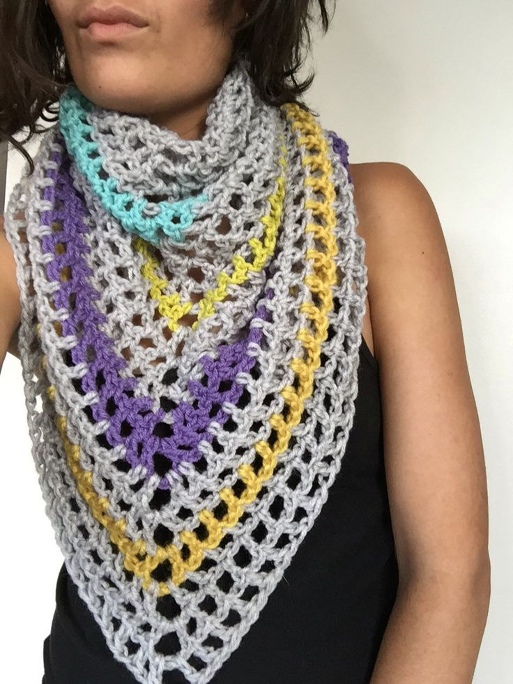 A personal favorite from my Etsy shop https://www.etsy.com/ca/listing/475346353/triangle-scarf-shawl-grey-stripes