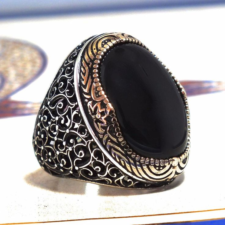 Mens Ring 925 Sterling Silver Black Onyx Unique Elegant artisan jewelry #KaraJewels #Turkish