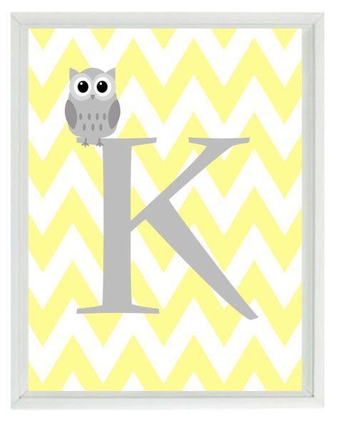 Chevron Initial Letter Art Print - pépinière hibou jaune gris personnalisé personnalisé - Wall Art Home Decor 8 x 10 imprimer 8 x 10 Print