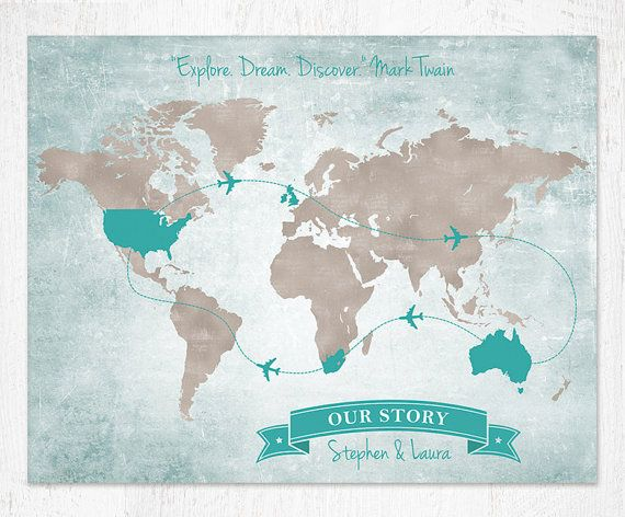13 best custom maps images on pinterest custom map destinations show your travels around the world with this vintage world map highlight wedding dates gumiabroncs Gallery