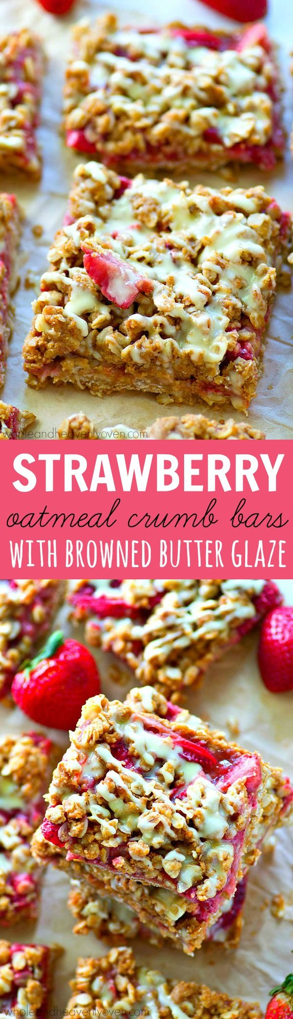 Strawberry Oatmeal Crumb Bars with Browned Butter Glaze | Recipe ...