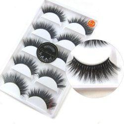 2017 New 10pcs/5 Pairs Luxurious 3D False Eyelashes Cross Natural Long Eye Lashes Makeup - BLACK