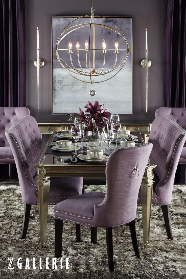 Purple dining room - Does Your Table Make A Statement Shop The Dine In Style Event And Save 15 Dining Table Chairsdining Furniturepurple