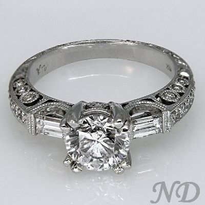 Engagement Rings :: Engagement Ring with Baugette Accents
