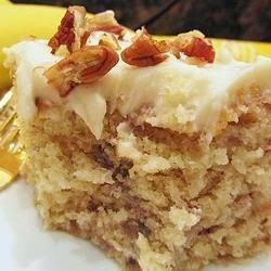Banana Cake - brilliantly easy and simply scrumptious! I topped it with 1/2 cup of finely chopped walnuts which is the only thing I would add,,