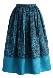 Lace Fantasy Pleated Midi Skirt in Blue