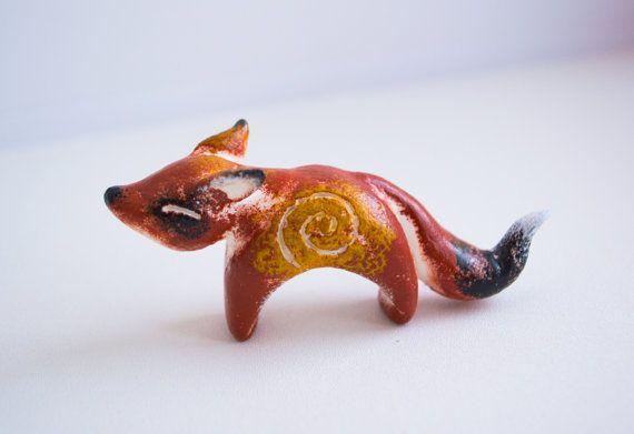"Sculpture miniature totem fantasy ""Fox"" by WingedHedgehogDream"