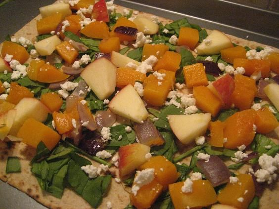 Butternut Squash and Apple Pizza with Goat Chesse