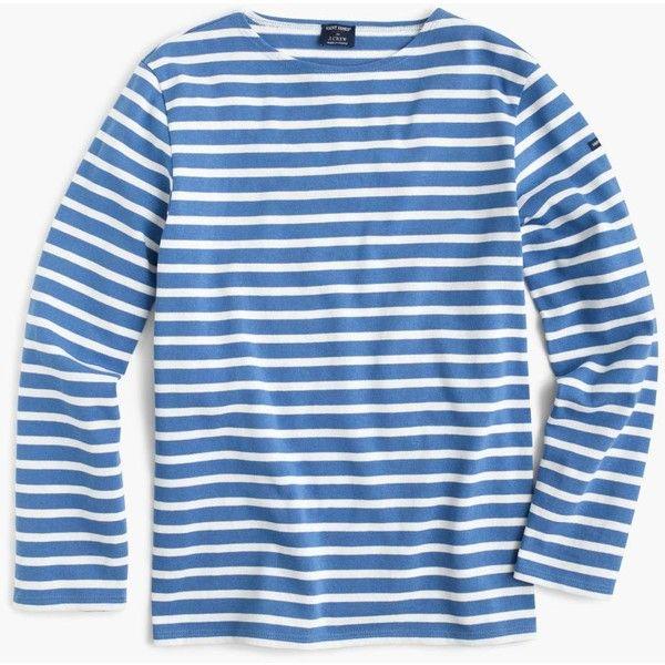 J.Crew Saint James® unisex Meridien II nautical T-shirt ($95) ❤ liked on Polyvore featuring tops, t-shirts, striped top, breton stripe tee, j crew tee, j crew t shirts and blue striped t shirt