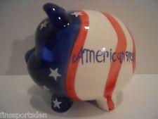 AMERICAN DREAM Piggy Bank - US Patriotic Flag Red White Blue Stars Stripes Pig