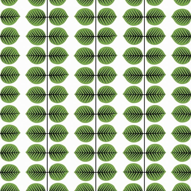 Boråstapeter Scandinavian Designers 11 wallpaper collection Berså colours 1750 - 1754.   Berså is a rythmical design of stylized leaves loved by the Swedish. First used on Stig Lindberg's popular chinaware in the 1960's and considered an iconic design in Swedish homes. Berså has a clean, retro feel,with a fresh bold look great for many rooms in the home and for adding a pop of colour and Scandi style to your interior design decor.