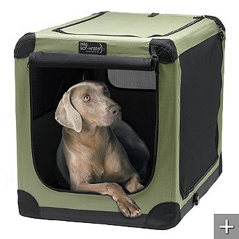 Soft Sided Portable Dog Crate  Our Soft Sided Portable Dog Crate sets up in seconds for use indoors or outdoors. Stylish, lightweight, and washable, this portable dog crate with 4-sided ventilation maximizes your pet's comfort in any climate.
