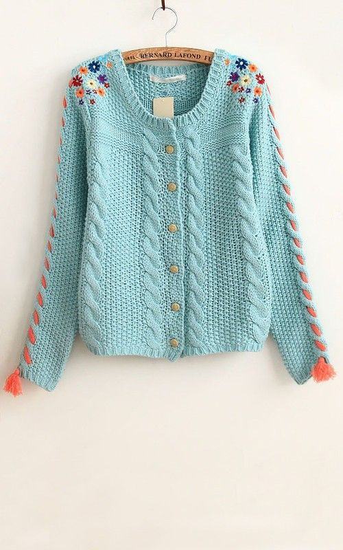 Blue Patchwork Embroidery Flowers Tassel Acrylic Cardigan