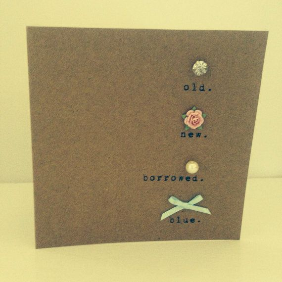 Vintage Style Shabby Chic Wedding card 'old, new, borrowed, blue' with crystal & pearl details- hand made on Etsy, £3.00