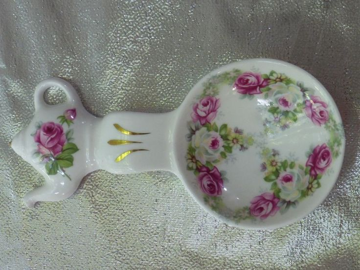 Crown Victorian Staffordshire England Fine Bone China tea bag holder spoon rest