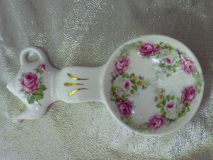 Crown Victorian Staffordshire England Fine Bone China tea bag holder spoon rest