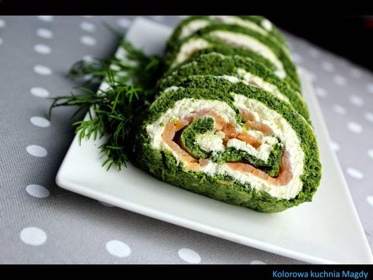 Kolorowa Kuchnia Magdy: Rolada szpinakowa z łososiem