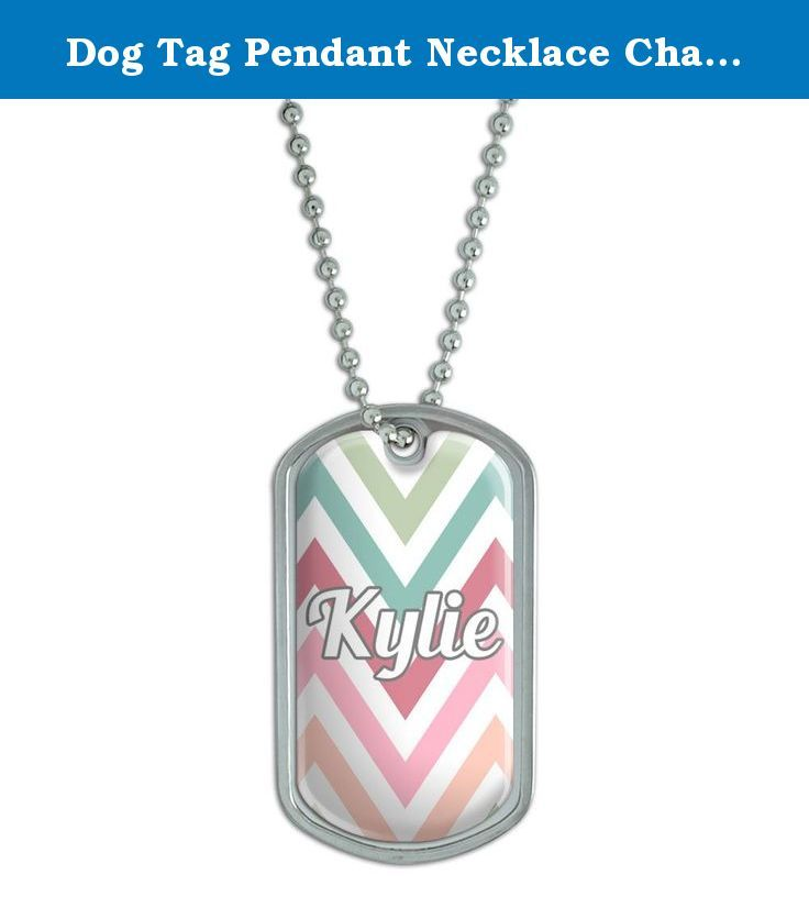 """Dog Tag Pendant Necklace Chain Names Female Ki-Ky - Kylie. Our stainless steel dog tags feature a fun, urethane-encased printed graphic, as shown, expressing your unique interests and personality! Want to get even more personal? The backside is perfect for engraving. (Unfortunately, we do not offer engraving services; please check with your local engraving shop!) The tag comes with an adjustable 24"""" chain to complete the functional-but-fashionable look. Size: 2"""" x 1.1""""."""