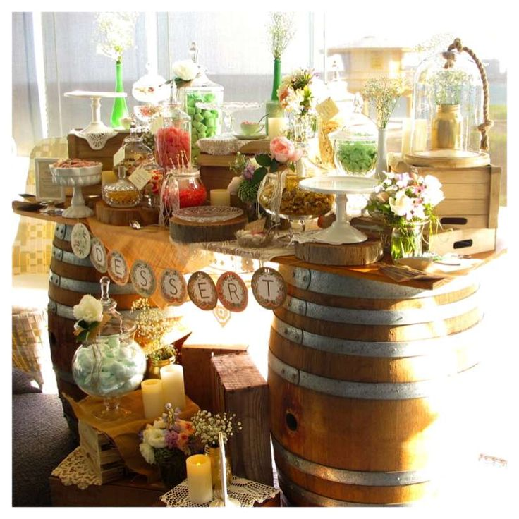 Wedding Desserts Bar Ideas: Vintage Rustic Pink, Green And Gold Wedding Candy And