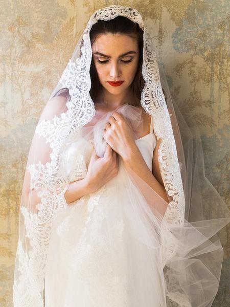 Best Cathedral Lace Veils Ideas On Pinterest Long Lace Veils