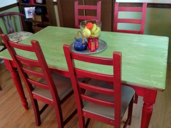 Distressed Farm Style Kitchen Table and Four by VintageHipDecor, $499.00