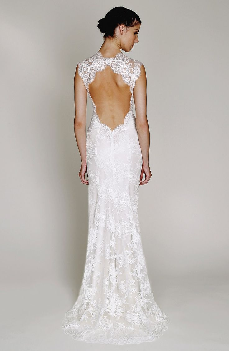BLISS Monique Lhuillier Chantilly Lace Open Back Wedding Dress In Stores Only
