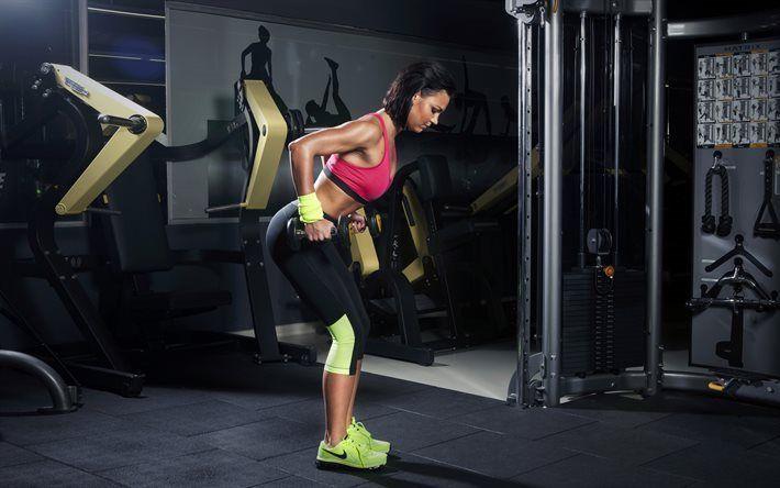 Herunterladen hintergrundbild fitness-studio, training, fitness, sportler, hanteln, kniebeugen