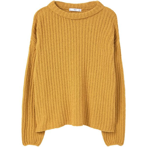 Textured Cotton-Blend Sweater found on Polyvore featuring tops, sweaters, brown tops, chunky cable knit sweater, textured sweater, cable-knit sweater and mango tops