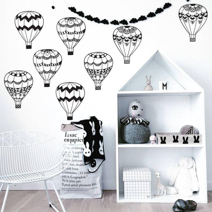 monochrome hot air balloons by parkins interiors   notonthehighstreet.com