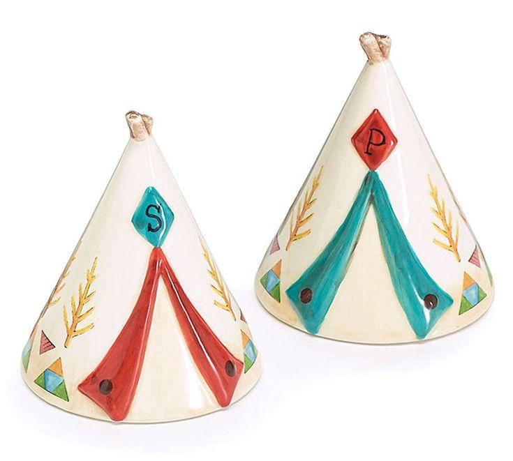 TeePee Tent Ceramic Salt Pepper Shakers Happy Camper Burton+Burton Gift Boxed #BurtonBurton