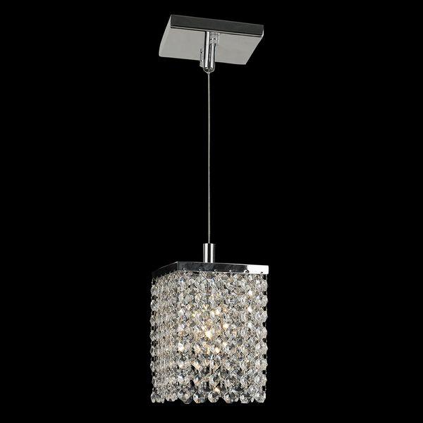 Sparkling 1 Light Full Lead Crystal Chrome Finish Square Mini Pendant
