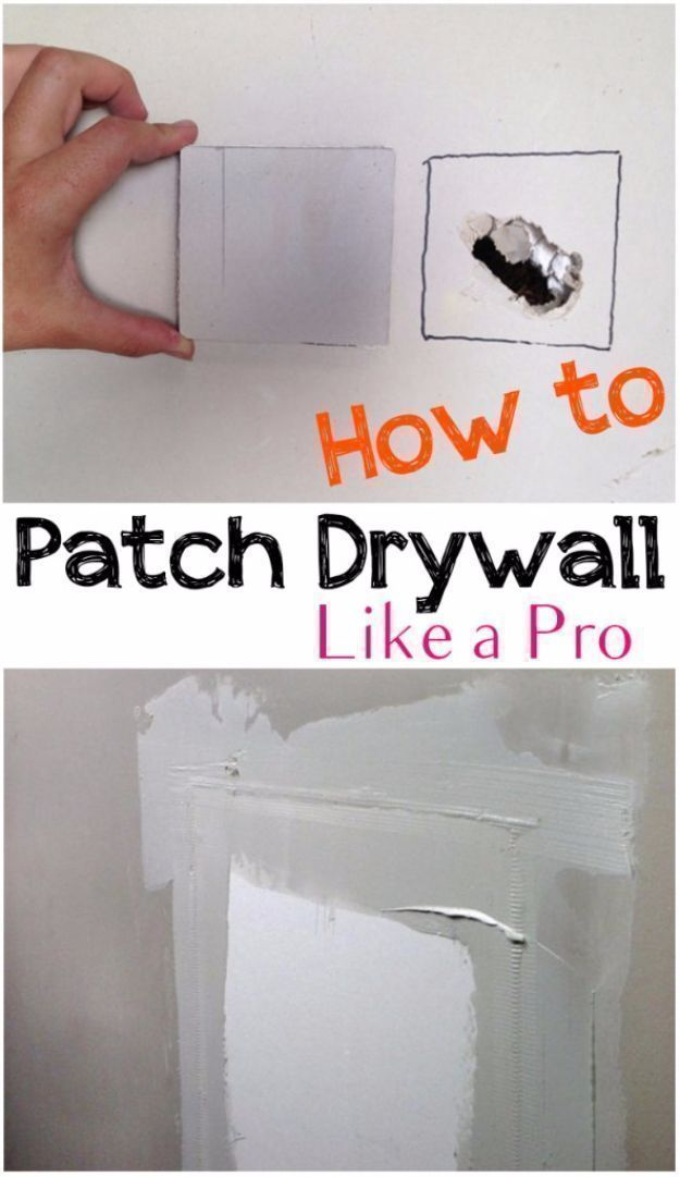 DIY Home Improvement On A Budget - Patch Drywall Like A Pro - Easy and Cheap Do It Yourself Tutorials for Updating and Renovating Your House - Home Decor Tips and Tricks, Remodeling and Decorating Hacks - DIY Projects and Crafts by DIY JOY http://diyjoy.com/diy-home-improvement-ideas-budget #DIYHomeDecorTips #homeimprovementtips #homedecorideasforcheap #homerenovations #homeimprovements #houserenovations