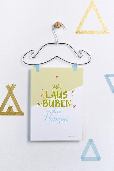 """""""Mehr Lausbuben, weniger Prinzen"""" Druck von grafikherz – feine Typografie + Grafik für Dein Zuhause auf DaWanda.com"""