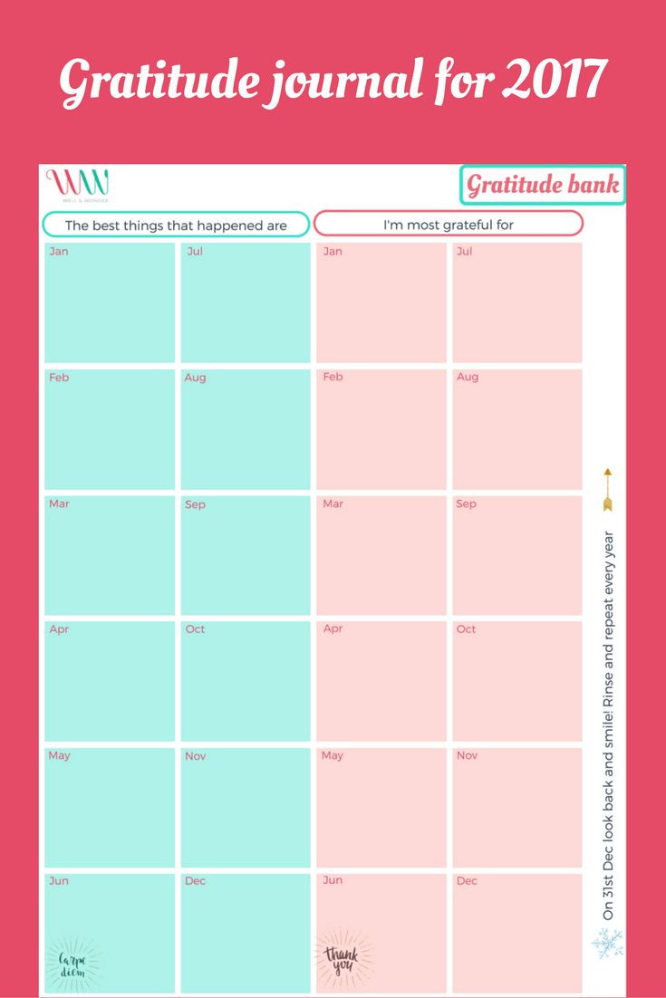 Year Calendar Look : Use this yearly calendar to track your gratitude that you