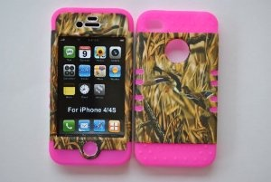Amazon.com: Hybrid Silicone Rubber plus Cover Case Skin for Iphone 4 and 4s Camo pink: Cell Phones & Accessories