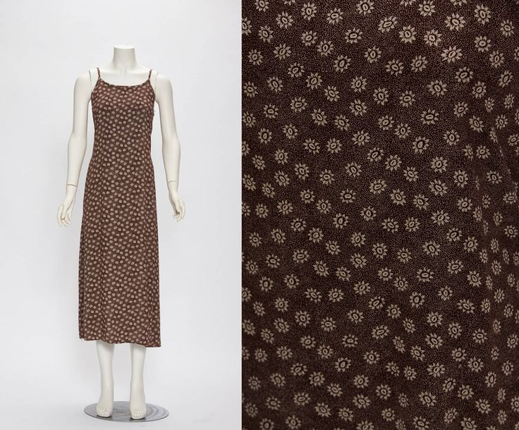 brown maxi dress with small sunflower print vintage 1990s • Revival Vintage Boutique by RevivalVintageBoutiq on Etsy