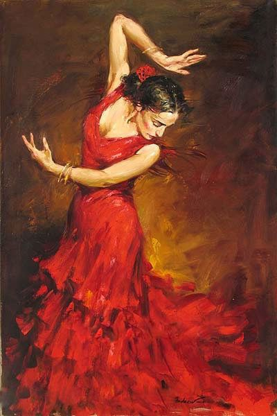 Hand-painted Classical Gypsy Flamenco Dancer Red Dress Art Oil Painting Decor