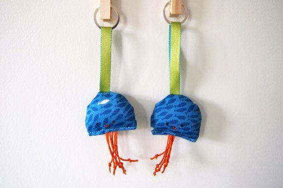 Hand made personalized Jellyfish plush key by TheRainbowInMyMind, £6.00