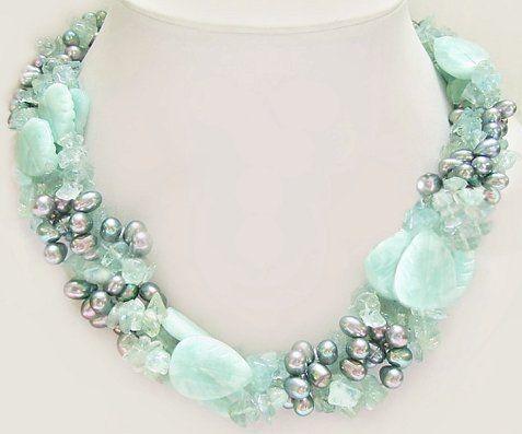 Amazonite, Aquamarine and Pearl Necklace