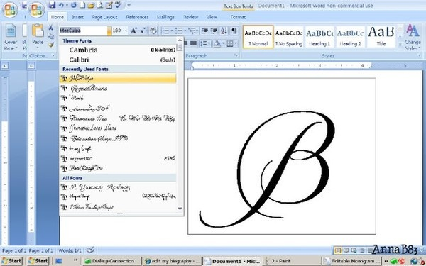 How to design your own monogram in Microsoft Word (something to keep handy for future)
