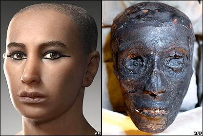 King Tut's face, reconstructed