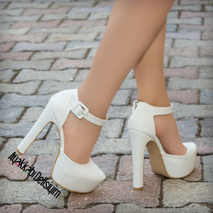 Burnu Kapalı Topuklu Gelin Ayakkabısı #white #wedding #shoes