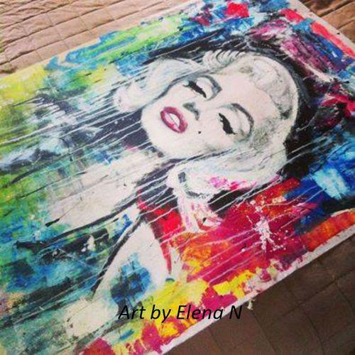 Big Acrylic painting of Marilyn Monroe.. 135 cm+100 cm.  Art by Elena N