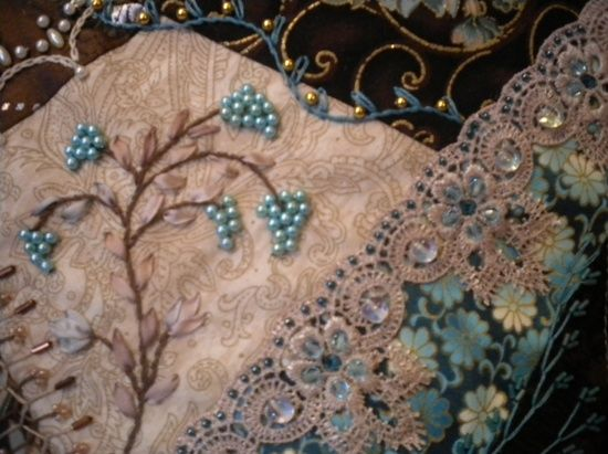 embroidery crazy quilt | embroidery~stitches~beads~crazy quilting / blue