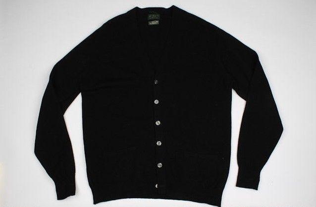 W. Bill Ltd Black Pure Lambswool Sz 44 mens Cardigan Sweater #WBill #Cardigan