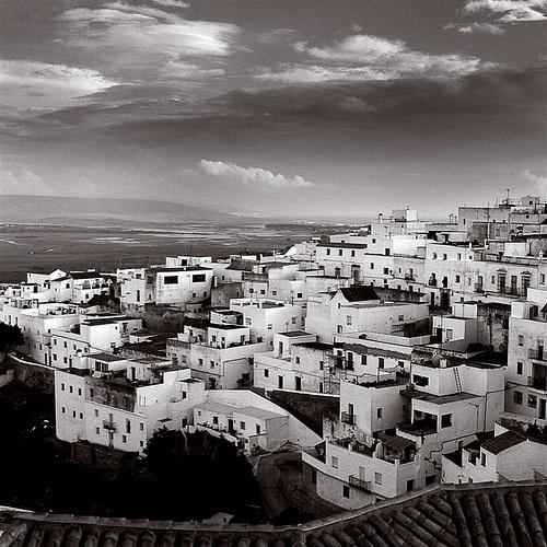 Spain Andalucia Vejer de la Frontera Square duotone sepia