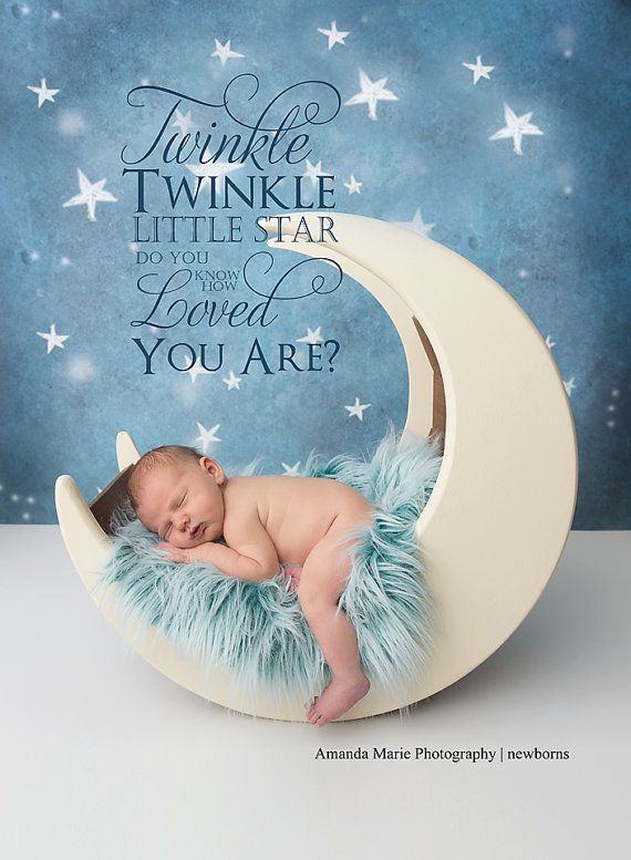 Adorable wood moon photo prop fits newborn by TheIttyBittyPropShop