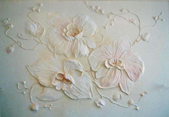 Создание объемного цветочного рисунка на штукатурке
