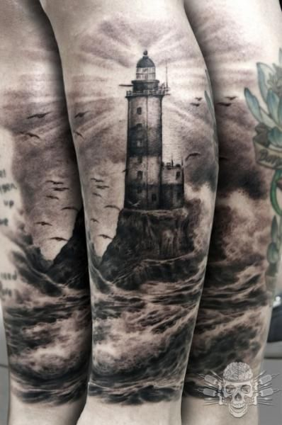 Arm Realistic Lighthouse Tattoo by Tattooed Theory